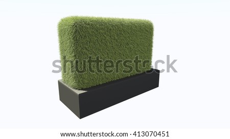3D render grass Isolated on white background. with platform  black