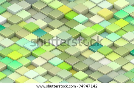 3d render green cubes in different shades of green - stock photo