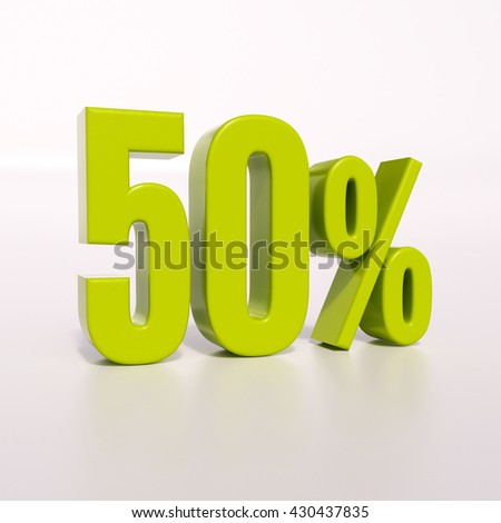 3d render: green 50 percent, percentage discount sign on white, 50% - stock photo