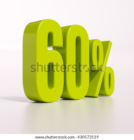 3d render: green 60 percent, percentage discount sign on white, 60% - stock photo