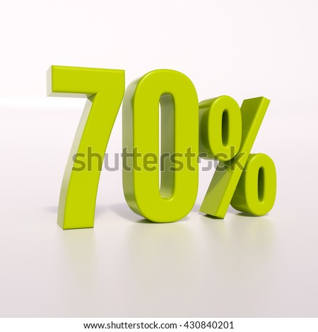 3d render: green 70 percent, percentage discount sign on white, 70% - stock photo
