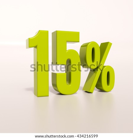 3d render: green 15 percent, percentage discount sign on white, 15% - stock photo