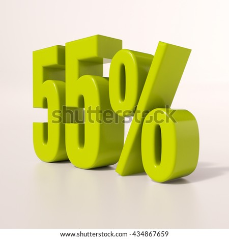 3d render: green 55 percent, percentage discount sign on white, 55% - stock photo