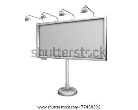 3d render grey billboard in the white background - stock photo