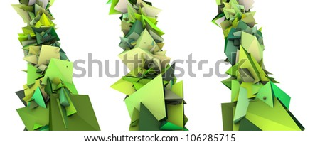 3d render growing shape in multiple shades of green - stock photo