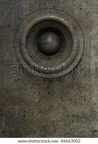 3d render grunge old speaker sound system deejay DJ - stock photo