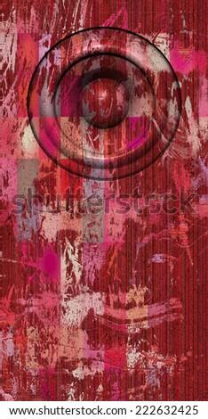 3d render grunge pink red old speaker sound system - stock photo