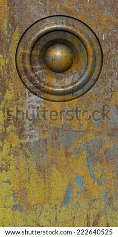 3d render grunge yellow old speaker sound system - stock photo