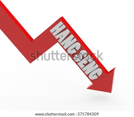 3d render Hang Seng stock market index in a red arrow on a white background.  - stock photo