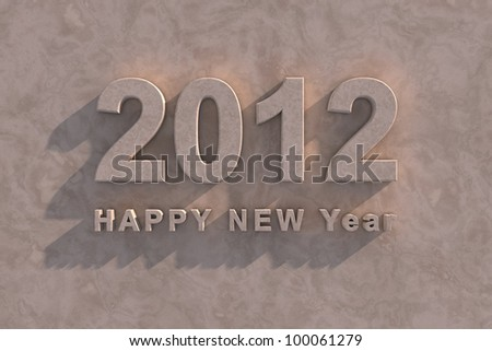 3d render 2012 Happy New Year in marble with shadow as though on the facade of a building - stock photo