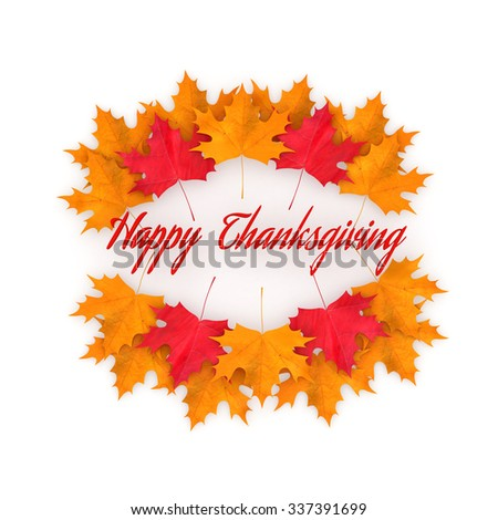 3D Render: Happy Thanksgiving day concept with red and yellow autumn leaves, banner, illustration on white background - stock photo