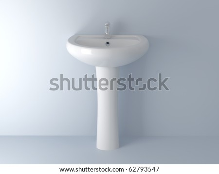 3d render home Interior. High resolution image. Bathroom faucet. - stock photo
