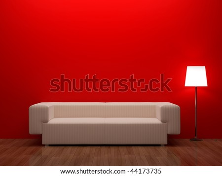 3d render home red Interior.