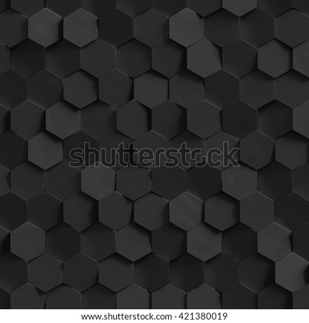 3d render, honeycomb wall texture, black hexagon clusters digital illustration, abstract geometric background - stock photo