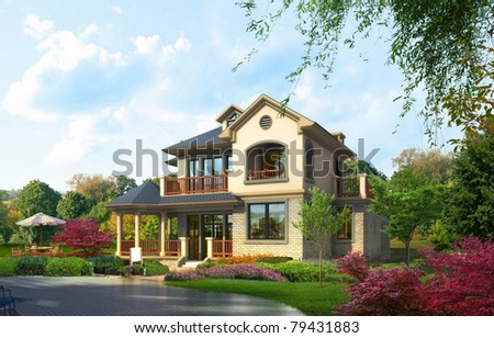 3D render house - stock photo
