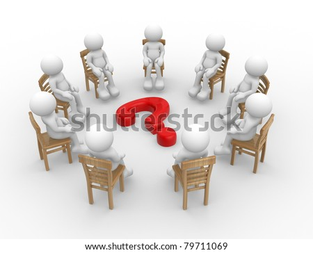 3d render - human character- people sitting on chairs in a circle with question mark. 3d render - stock photo