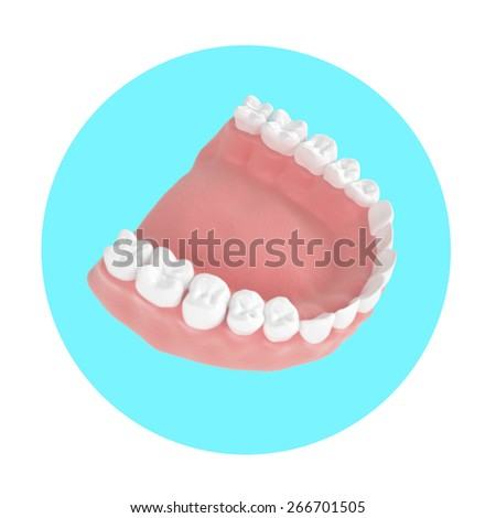 3d render human jaw in a beautiful perspective on the blue circle - stock photo