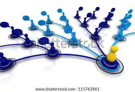 3D render human network - stock photo
