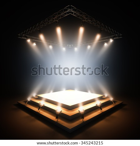 3d render illustration blank template layout of empty stage illuminated by spotlights. Empty copy space to place your text, object, or logo. - stock photo