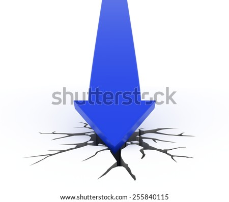 3D render illustration - Blue arrow crashes through the ground - stock photo