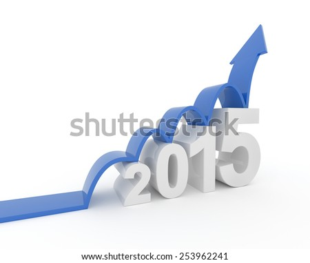 3D render illustration - blue arrow jumps on 2015 text object - stock photo