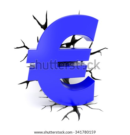 3d render illustration - cracks surround blue euro symbol - stock photo