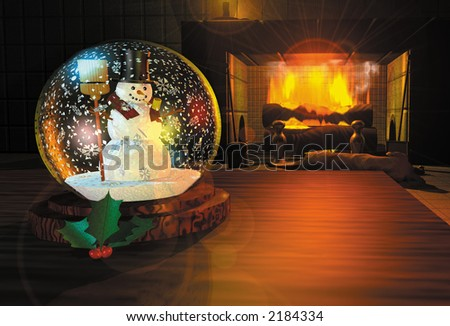 3D render illustration depicting a snow globe on a table by a fireplace - stock photo