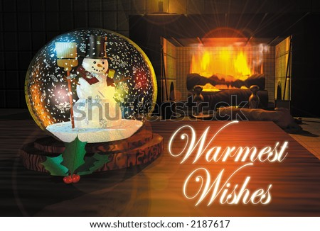 3D render illustration depicting a snow-globe on a table by a fireplace - stock photo