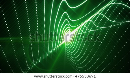 3D render illustration. Futuristic technology style. Background of random lines and particles. 3D geometric wallpaper. Abstract of chaotic shapes.