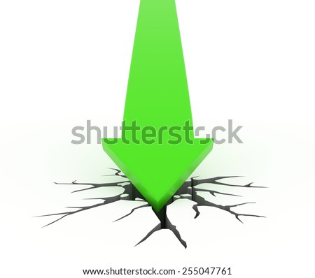 3D render illustration - green arrow crashes through the ground - stock photo