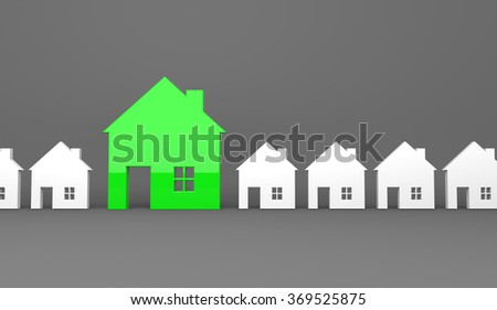 3d render illustration - Green house symbol stands out - stock photo