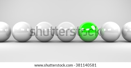 3d render illustration - green sphere stands out - stock photo