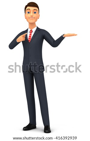 3d render illustration. Happy 3d cartoon man in a tie isolated on white background. Hand pointing at empty space for advertising. - stock photo