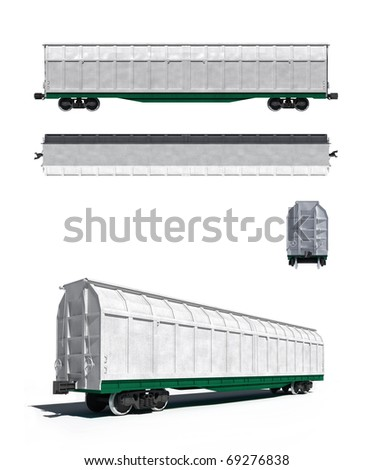 3d render illustration isolated on white: Projections and perspective view of the modern white universal carriage - stock photo