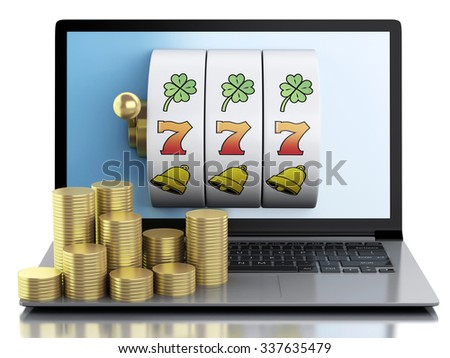 3d render illustration. Laptop with slot machine and gold coins. Casino online games concept. Isolated white background - stock photo