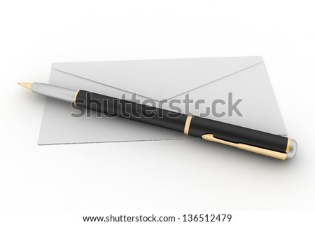 3d render illustration mail envelope and pen isolated on white background - stock photo