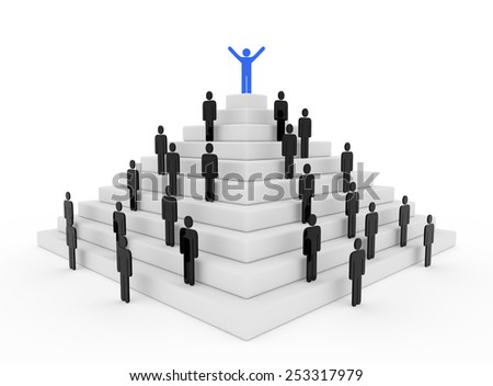 3d render illustration of a blue stickman on top of a pyramid - stock photo