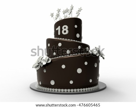 3D render illustration of a chocolate cake with the number 18 positioned on the top.