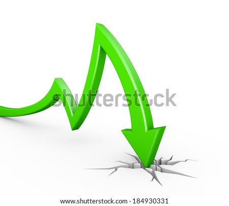 3d render illustration of a green arrow collapsing and breaking through the ground - stock photo