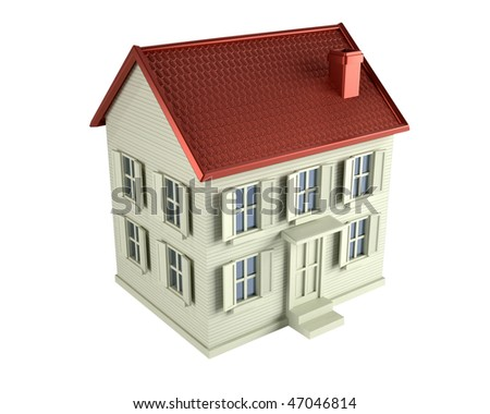 3d render illustration of a house isolated over white