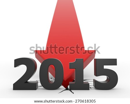 3d render illustration of a red arrow crashing on the ground behind 2015 text - stock photo