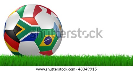 3d render/illustration of a soccer ball with national flags in grass on white - south african flag in front - clipping path included - stock photo