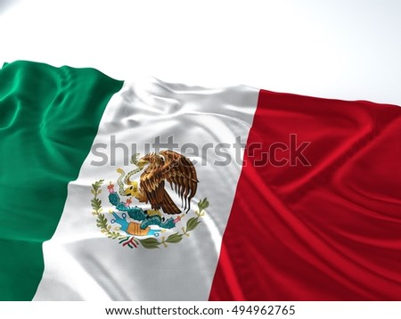 3d render illustration of a Waving mexico Flag on white background