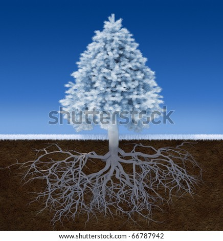 3d render illustration of a white christmas tree with root - stock photo
