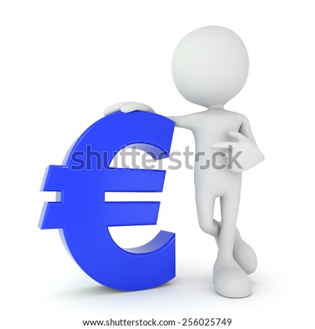 3d render illustration of a white 3d human pointing at a blue euro symbol - stock photo