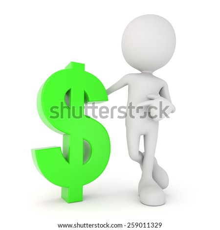 3D render illustration of a white 3d human pointing at a green dollar symbol - stock photo