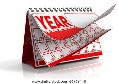 3D render illustration of Annual desktop calendar - stock photo