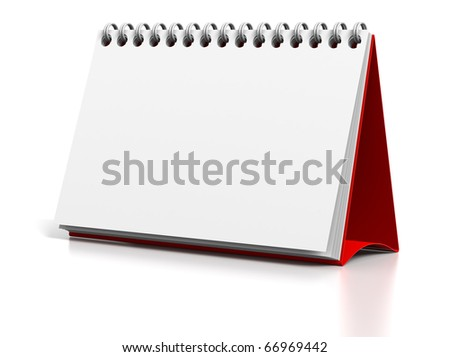 3D render illustration of Blank desktop calendar - stock photo