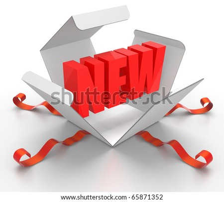 3D render illustration of box being opened, revealing a New word symbol - stock photo