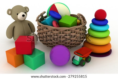 3d render illustration of child's toys in a small basket - stock photo